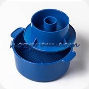 Синяя форма с поршнем Лазурь для твердых сыров 1 кг.